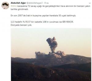 """Mehmetçik Afrin'i vururken, Genelkurmay Başkanlığı operasyonun adını """"Zeytin Dalı Harekatı"""" olarak duyurdu. Peki operasyona nedenZeytin Dalıadı veridi? Bugüne kadarki bir operasyonda kullanılan en kalabalık uçak sayısı olan 72 savaş jetiyle Afrin'deki terör hedeflerinin vurulmasının sırrı ne? İşte ayrıntılar...   Sungurlu Haber"""