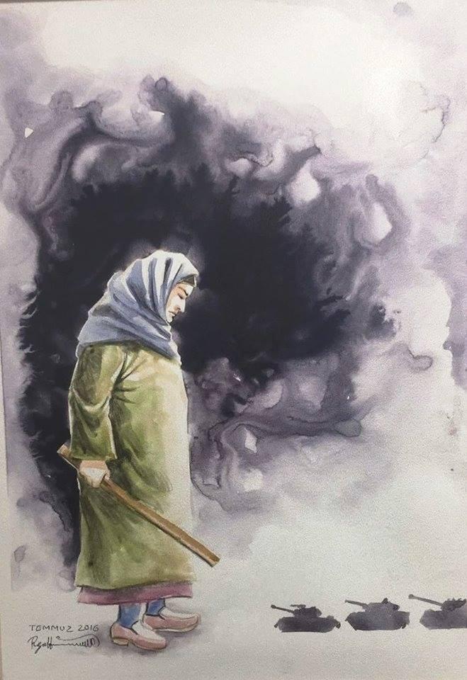 İranlı ressam Reza Hemmatirad'ın fırçasından 15 Temmuz 2016 gecesi yaşananlar... Görseller için haber sayfasını ziyaret edin.   Sungurlu Haber