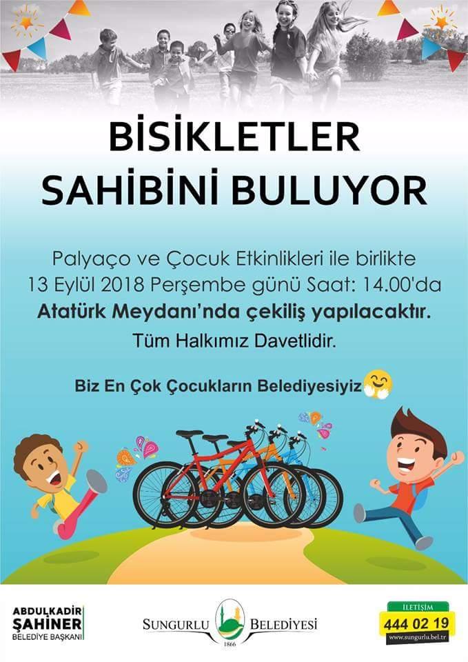 Sungurlu Belediyesi bir ilki gerçekleştirerek karnesini getiren 100 çocuğa çekilişle bisiklet hediye edecek. | Sungurlu Haber
