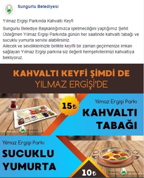 Sungurlu Belediye Başkanlığı'nın işletmeciliğini yaptığı Şehit Üsteğmen Yılmaz Ergişi Parkında günün her saatinde kahvaltı tabağı ve sucuklu yumurta servisi başladı.   Sungurlu Haber