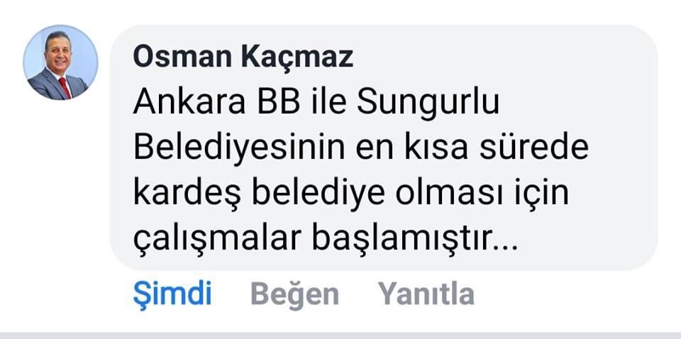Sungurlu Belediyesi ile Ankara Büyükşehir Belediyesi'nin kardeş belediye olması için çalışmaların başladığı bildirildi. | Sungurlu Haber